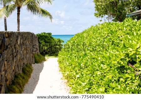 One of the five access path of Lanikai beach in Oahu Hawaii. Lanikai Beach rankes among the best beaches in the world with it's very find sand and calm turquoise waters.