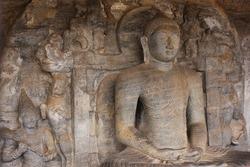 One of the four stone carvings of Lord Buddha at Gal Viharaya (Stone Temple) in Polonnaruwa, Sri Lanka.