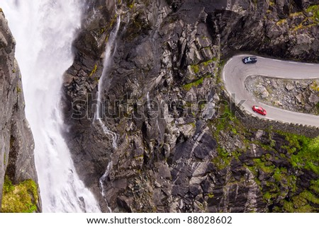 One of the hairpins on Trollstigen pass, Norway. - stock photo