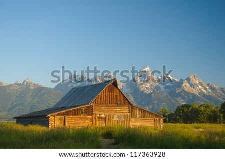 one of the historic Moulton barns (built by the Moulton brothers who were Mormons in the 1800's)  in the Teton national Park - stock photo