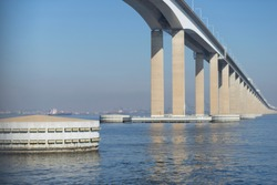 One of the longest and highest bridges in South America connecting the city of Rio de Janeiro to the city of Niteroi on the other side of the Guanabara bay with one