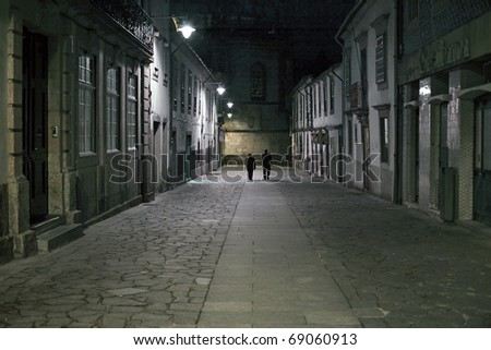 One of the many old street of Braga in Portugal, by night