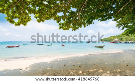 One of the most beautiful and most popular beaches Ao Klang on Koh Samet.Crystal Sand Beach at Samet Island thailand