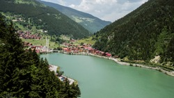 One of the most beautiful tourist places in Trabzon,Turkey.  Uzungol - a mountain valley with a trout lake and a small village. 2018
