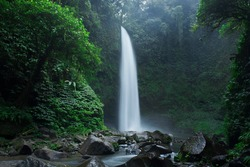 One of the most beautiful waterfalls on the island of Bali in Indonesia, a waterfall nungnung