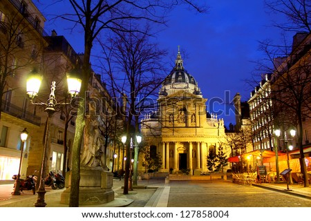 One of the most famous european universities with it's surrounding buildings, caf�©s and stores in Paris, France / Sorbonne university by night, Paris France