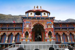 One of the most sacred and famous centres of pilgrimage in India, the Badrinath Vishnu temple.
