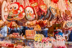 One of the most traditional sweet treats which are gingerbread pictured at the Christmas Market in Berlin, Germany. They can be found in different sizes and icing.