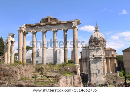 One of the oldest temples in the Roman Forum: the Temple of Saturn dedicated to the agricultural deity Saturn, Rome, Italy.