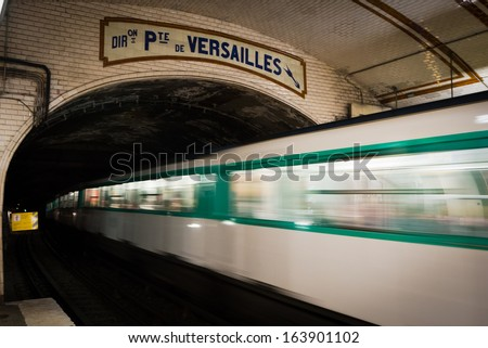 One of the oldest trains in Europe - Paris underground - at Pte. de Versailles stop.