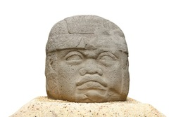 One of the Olmec colossal heads isolated on white background. They are stone representations of human heads sculpted from large basalt boulders by Olmec civilization (Mexico)