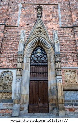 One of the portals of Basilica of St Elisabeth on the old historic part of Wroclaw, capital city of Lower Silesia Province in Poland