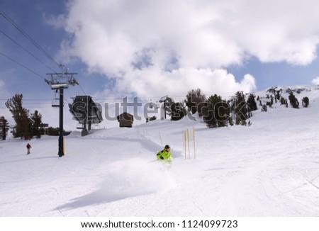 One of the ski slopes on Mammoth Mountain, California. #1124099723