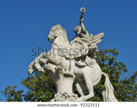 One of the statues at the entrance of the Queluz palace in Portugal