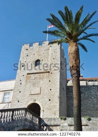 One of the towers in the ancient city wall of the historic city Korcula at the island Korcula in Croatia