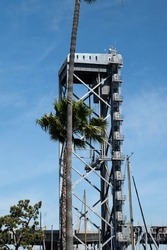 One of the towers of the Henry Ford Bridge in Los Angeles Harbor