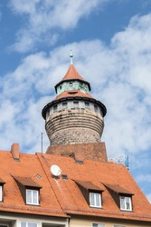 One of the towers of the imperial castle of Nuremberg old city, Germany, Bayern, Deutschland.