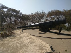 One of the two cannons of the Cannon Hill in Elephanta island which was built by Portugese