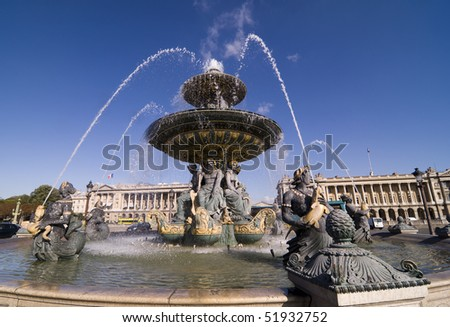 One of the two fountains in Place de la Concorde, Paris France designed by Jacques-Ignace Hittorff