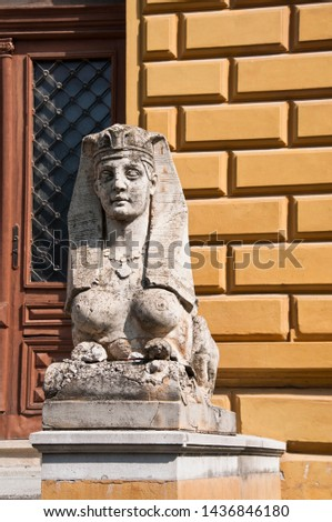One of the two sculptures at the entrance to the building of Serbian Orthodox Theological Seminary in town of Srijemski Karlovci, Vojvodina, Serbia #1436846180