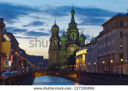 One of the wonderful views of St. Petersburg White Nights. Church of the Savior on Blood is located in the historic center of St. Petersburg on the bank of the Griboyedov Canal #127180886