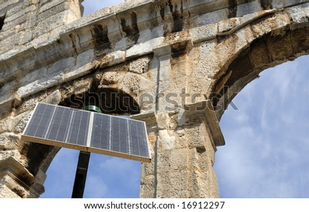 One of the world's best preserved amphitheaters in Pula, Croatia with solar cell