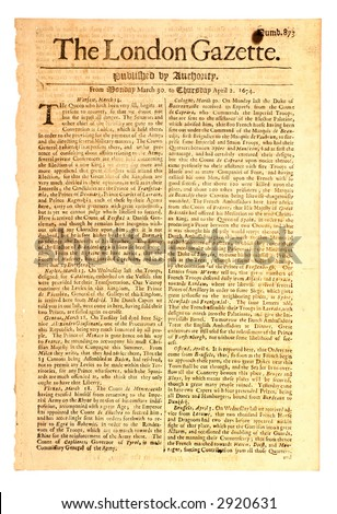 One of the world's oldest newspapers.  First published in 1665, this issue is dated 1674.