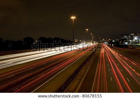 One of Toronto's Highways photographed at night.