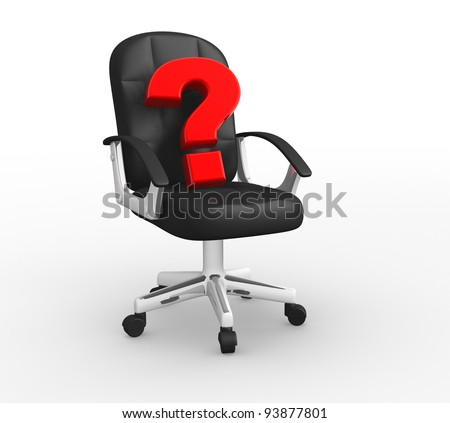 One office armchair with a question mark on it, concept of new leader . 3d render