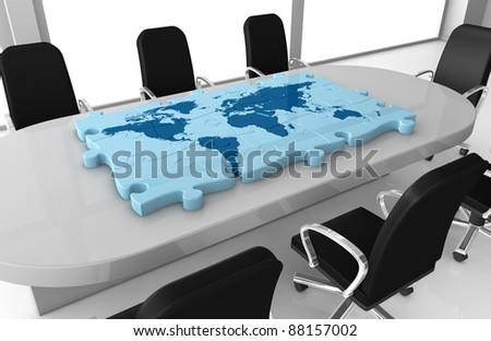 one office room with a world map made with puzzle pieces on the table (3d render)