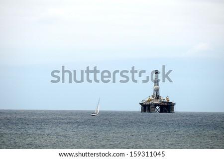 One Oil Platform in the Atlantic Ocean, in Canary Islands, Spain