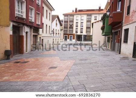 One old and nice street in Gijon,Asturias,Spain