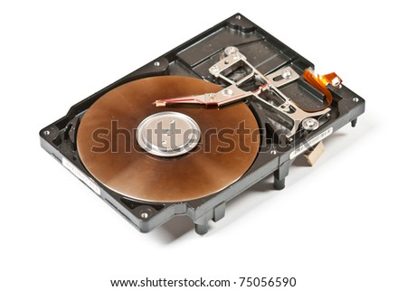One old opened harddisk with scratches and dust isolated on white