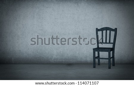 one old wooden chair in a dirty room (3d render)
