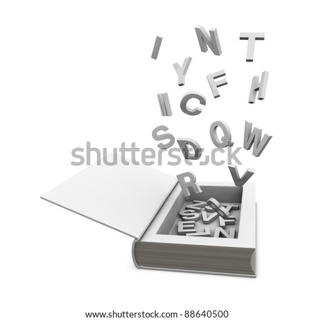 one open book with a hole, some letters into it and some flying around it(3d render)