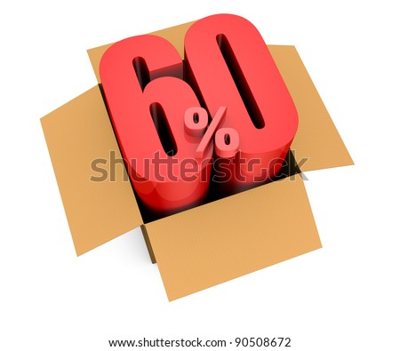 one open carton box with the 60 percent rate number that comes out (3d render)
