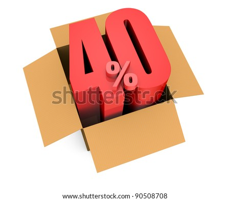 one open carton box with the 40 percent rate number that comes out (3d render)
