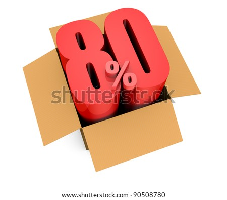 one open carton box with the 80 percent rate number that comes out (3d render)