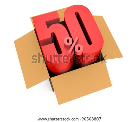 one open carton box with the 50 percent rate number that comes out (3d render)
