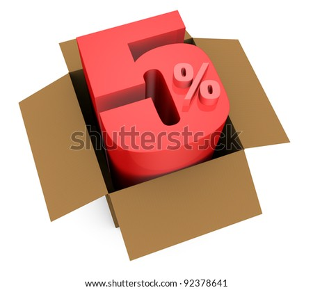 one open carton box with the 5 percent rate number that comes out (3d render)