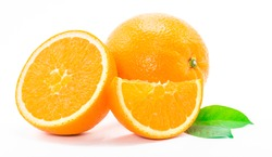 One orange fruit and half cut orange on white background