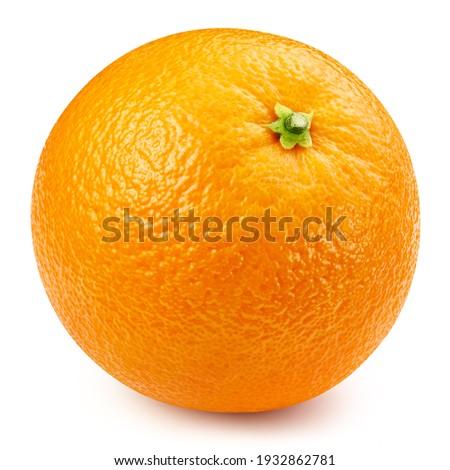 One orange isolated on white background close up. Orange Clipping Path. Orange macro studio photo