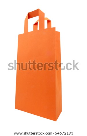 One orange shopping bag on dominate angle point of view