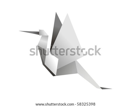 One Origami grey colors stork.