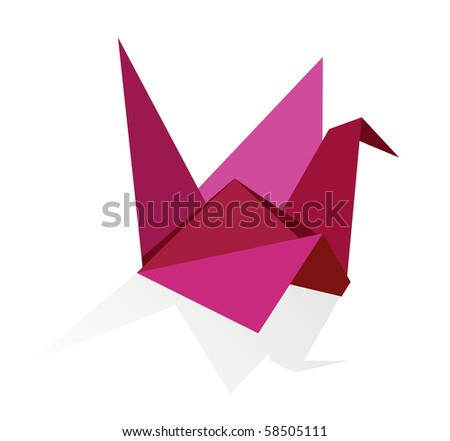 One Origami vibrant colors swan. - stock photo