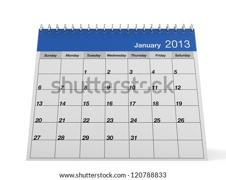 One page desk calendar 2013 with metal spring. This is a 3D render.