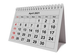 One page of the annual monthly calendar - month April 2021. 3d rendering