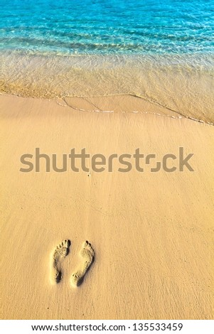 One pair footsteps on coral sandy beach