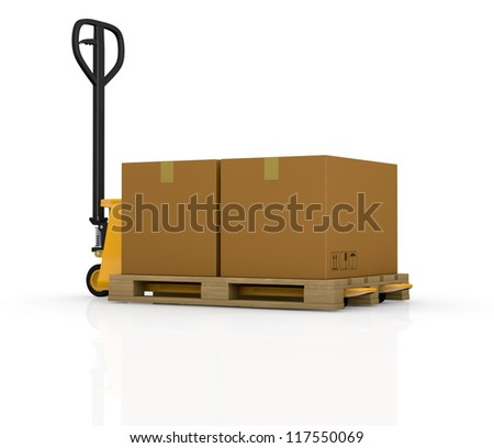 one pallet truck or forklift with a carton box (3d render)