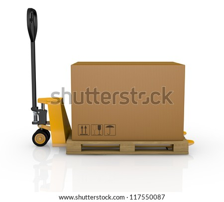 one pallet truck or forklift with a carton box 3D render